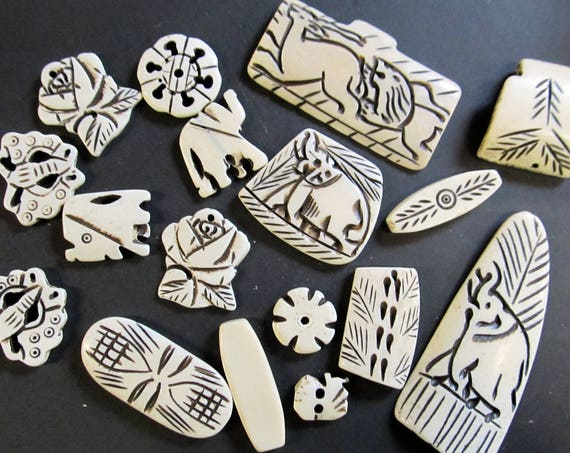 100 grams of Assorted Carved Bone Pendants and Beads, 100 gram package, Hemp Jewelry Supplies, Jewelry making