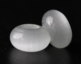 2 White Glass Cats Eye Dread Beads -  6mm Bead Hole - DreadLock Beads, Dread Beads and Accessories, Hair Beads, Dread Jewelry, 4D029