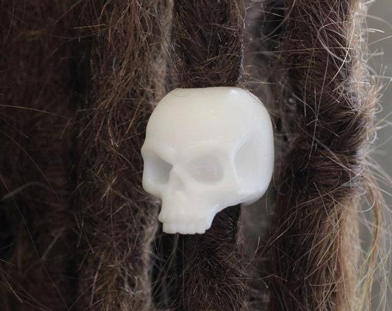 Skull Dreadlock Bead - CUSTOM Bead Hole - 3D Printed Dread Bead, Dreadlock Accessories, Loc Beads, Dread Charm, Dreadlock Jewelry, Paracord