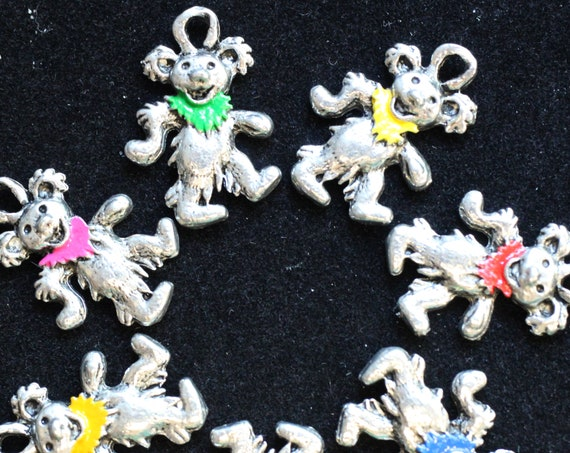 Jerry Bear, with painted collars - Grateful Dead Charms -  Assorted colors, Hemp Jewelry Supplies, Jewelry making