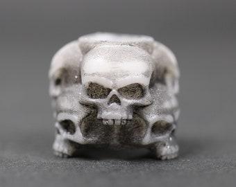 Skull Stack Dreadlock Bead / CUSTOM Bead Hole - Black or White is Paintable! / Dreadlock Accessories, Loc Beads, Paracord Beads, 4d038