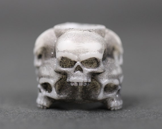 Skull Stack Dreadlock Bead / CUSTOM Bead Hole - Black or White is Paintable! / Dreadlock Accessories, Loc Beads, Paracord Beads, 4d038