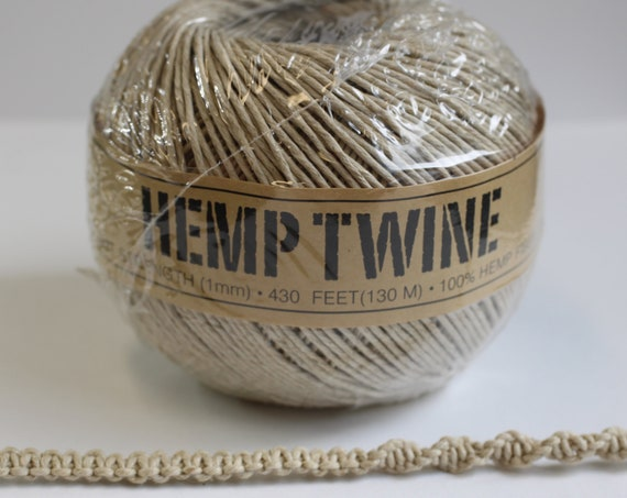 Hemp twine Natural 1mm 20lb test strength, Hemp Jewelry Supplies, Jewelry making, garden twine