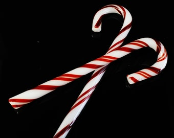 Glass Candy Canes -2 Pack- Hand Blown Glass Candy Canes w/ Gift Box Storage Box, Glass Christmas Tree Ornament, Candy Cane Ornament