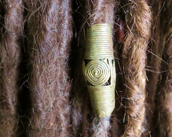 African brass Spiral cone Dread Bead - 6-8 mm bead holes - Large hole beads