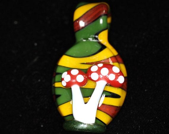 Amanita Mushroom pendant with rasta background,  Beads and Pendants for Hemp Jewelry, Hand blown Glass Pendants -