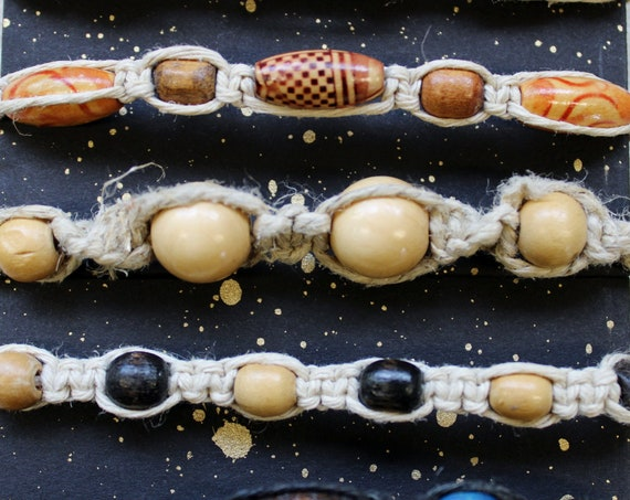 Hemp Bracelet - All Natural Wood Beads - Hand tied in Bremerton, WA