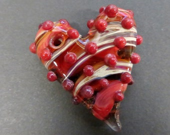 """Glass Heart Pendant Necklace - Blood Red - 20"""" Cord with Silver Plated Clasp - Glass Heart Necklace, Lampworked Glass Jewelry"""