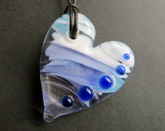 Glass Heart Necklace - Purple, White & Blue - Custom Cord with Silver Plated Clasp - Glass Heart Necklace, Lampworked Glass Jewelry