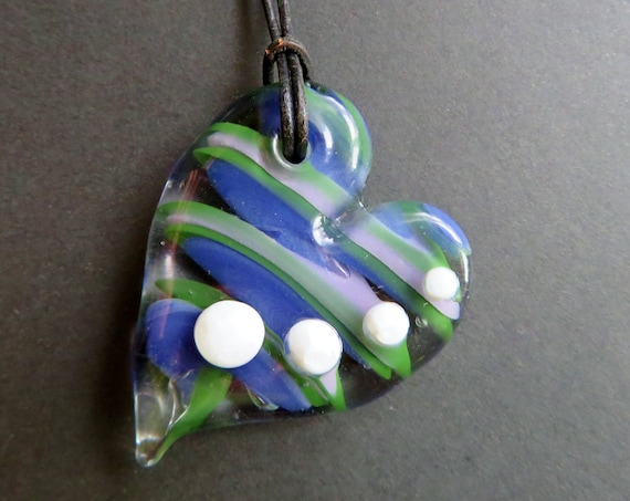 "Glass Heart Pendant Necklace - Purple and Green - 20"" Cord with Silver Plated Clasp - Glass Heart Necklace, Lampworked Glass Jewelry"