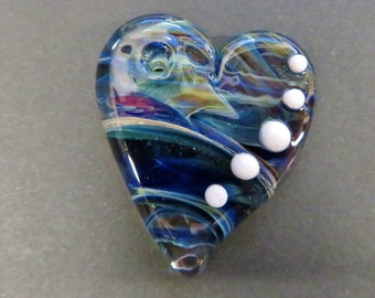 """Glass Heart Pendant Necklace - Purple and Blue - 20"""" Cord with Silver Plated Clasp - Glass Heart Necklace, Lampworked Glass Jewelry"""