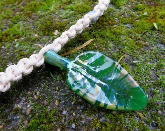 Leaf Hemp Necklace - Green and Silver - Hippy Hemp Jewelry, Glass leaf Pendant, Hand blown glass pendant on 48# test hemp necklace
