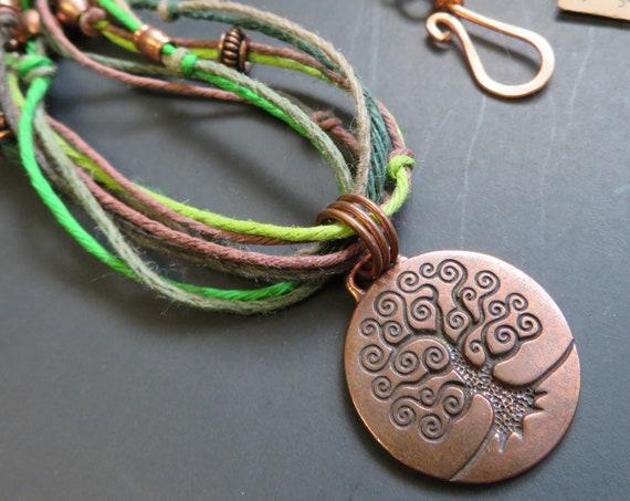 Copper tree of life pendant on a multi cord hemp necklace - Hemp Jewelry - I love tree stuff - Garden made