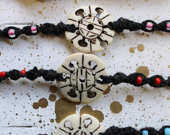 Hemp Bracelet - Carved Bone Focal Bead with Glass Accent Beads - Hand tied in Bremerton, WA