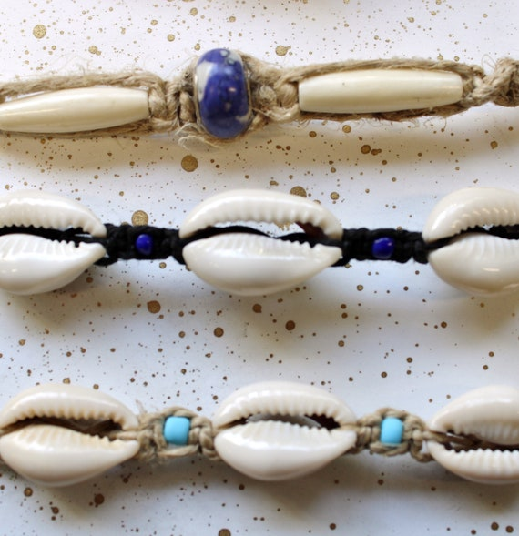 Hemp Bracelet - Cowrie Shell with glass accent beads - Hand tied in Bremerton, WA