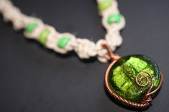 Glass Girl Penguin Pendant Rainbow Hemp Necklace Handmade Hemp Jewelry