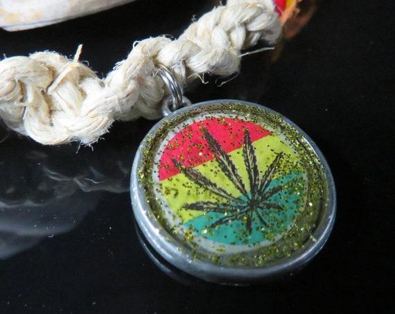 Rasta Pot Leaf Resin Pendant, Hemp Necklace, Bin #244