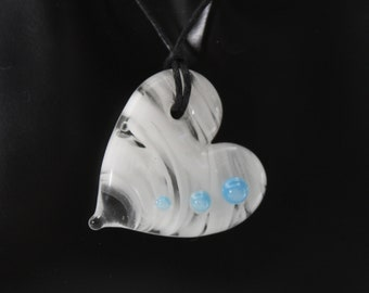 """Glass Heart Pendant Necklace - White & Blue - 20"""" Cord with Silver Plated Clasp - Glass Heart Necklace, Lampworked Glass Jewelry"""