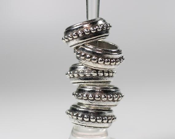 5 Gold Stackable Dreadlock Bead - 7mm bead hole - Large Hole Beads for Jewelry, Flower dread bead, Hair, Braids, Dreadlocks, & Beards, 4D053