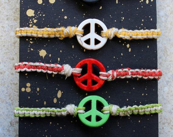 Hemp Bracelet - Peace Sign Focal Bead - Hand tied in Bremerton, WA