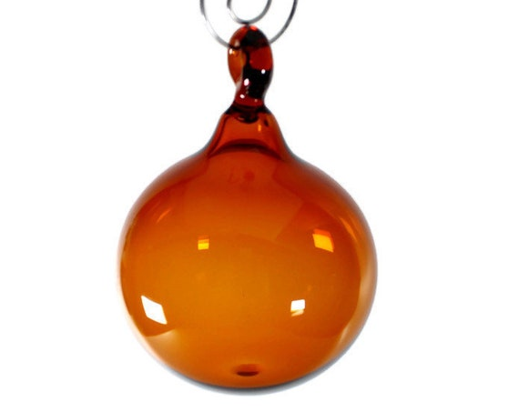 Glass Ball Ornament - Amber -  Victorian Style, Hand Blown Glass Christmas Ornament, Glass Christmas Tree Decorations, Blown Glass Float