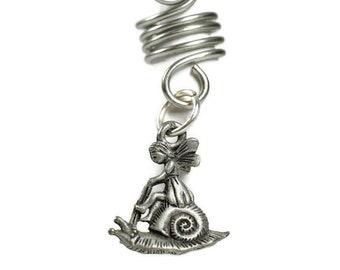 Snail Fairy Girl Dread Bead // 6 to 12mm Bead Hole // Metal Dread Bead, Dreadlock Accessories, Loc Bead Coil, Loc Beads, Dread Cuff, 5B001