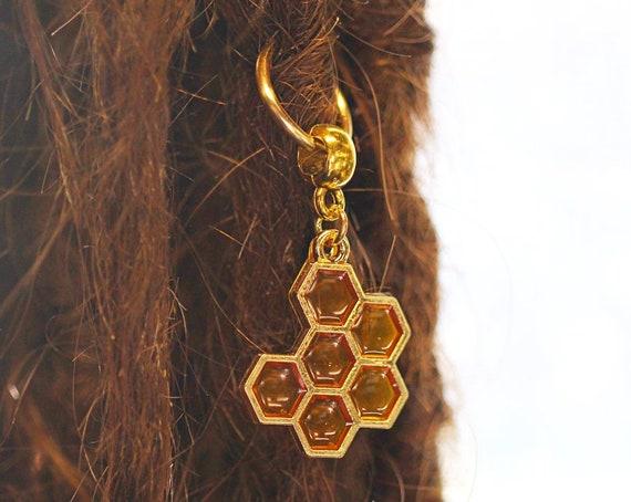 Honey Comb Charm Dreadlock Bead - CUSTOM - Metal Dread Bead, Dreadlock Accessories, Loc Beads, Dread Charm, Dreadlock bead, 4E007 / MTO