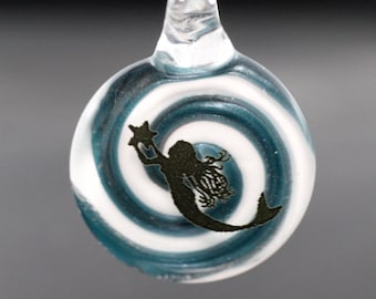 Mermaid Glass Pendant with Spiral Background, Available with or without Necklace, Mermaid Pendant, Mermaid Necklace, Mermaid Jewelry