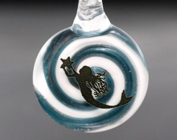 Glass Mermaid Pendant with Spiral Background, Mermaid Pendant, Glass Mermaid Pendant, Mermaid Necklace, Mermaid Jewelry, Mermaid Bead