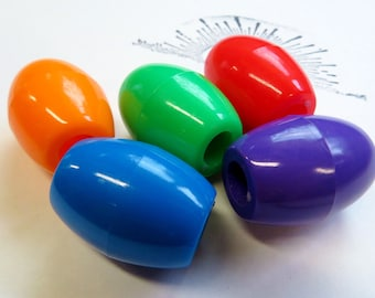 5 pack - Opaque Acrylic Bicone or Oval shaped Dread beads - 8mm Bead Hole for Small size dreads - Large hole beads
