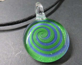 Spiral, Glass Pendant - Necklace - Bin #281