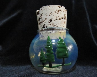 Glass Pine or Cedar Tree of Life herb Jar