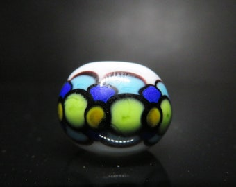 cool Tone Dot Stack - 6mm bead hole -  Hand Blown Glass Dread Bead