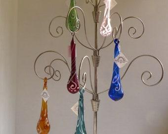 Tear drop with scroll work design, Hand Blown Glass Christmas Tree Ornaments, Sun catcher Window decorations