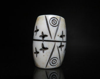 Long carved Bone Dread Bead, Large Oval carved, Large Hole Bead, Natural Beads for Dreadlocks, Bone Hair Beads