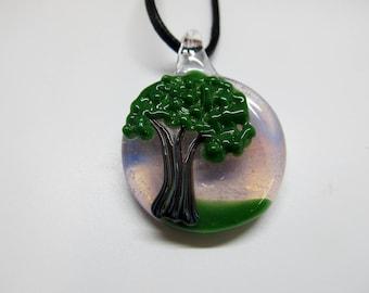 Tree of Life Necklace, Hand Blown Glass oak tree pendant, purple glass pendant, Nature Lover, landscape pendant