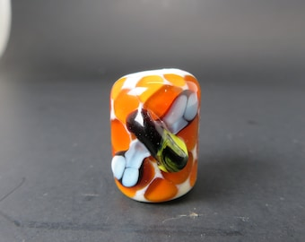 Honey Comb With Honey Bee, HAnd BLown Glass Dread BEad - 6 Mm Bead Hole, -bin- #0018