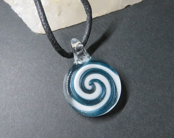 Spiral, Glass Pendant - Necklace - Bin #286