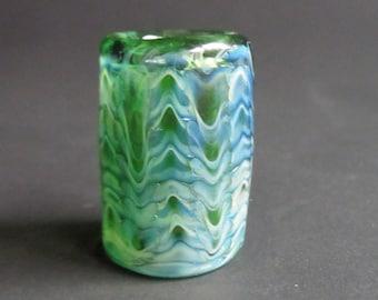 Wrap & Rake - Green/ blue silver fume - CUSTOM choose your bead hole size - Hand Blown Glass Dread Bead