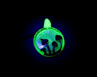 Hemp Necklace - UV Blacklight Mushroom Silhouette Pendant On Black Hemp, Hippy, Boho, Wook, stoner, surfer, Bin #240
