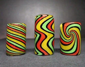 Full color #08 - Rasta in bold lines,  3 styles and 6 sizes to choose from, Spiral - Wig wag - Twist, Hand Blown Glass Dreadlock Bead