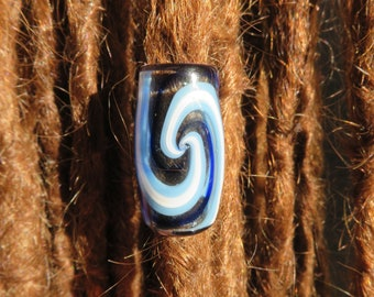 Spiral - Water element Hand Blown Glass Dread Bead - 12mm bead HOle -  Large hole beads for jewelry, hemp tying and macrame - Bin - #0180