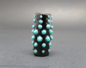 Dots, Black with teal - 8 mm bead hole - Glass Dread Bead, European Style Large Hole Glass Beads -BIN- #0031