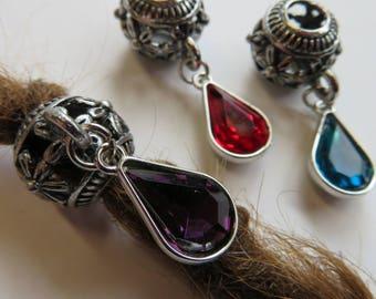 Metal Flower Bead with rhinestone charm, Dread lock Bead, 6mm beads hole, Beads for Dreadlocks,