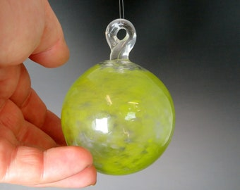 Glass Ball - Peridot Green - Hand Blown Glass Christmas Ornament, Glass Christmas Tree Decorations, window sun catchers