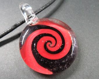 Spiral, Glass Pendant - Necklace - Bin #253