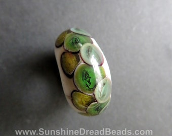 Burnt blue and green dots - 12 mm bead hole - Hand blown glass dread bead,  Beads for Dreadlocks #0581