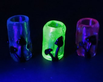 Blacklight UV reflective Mushroom Silhouette - CUSTOM 3 UV colored back grounds to choose from - Glass dread lock bead