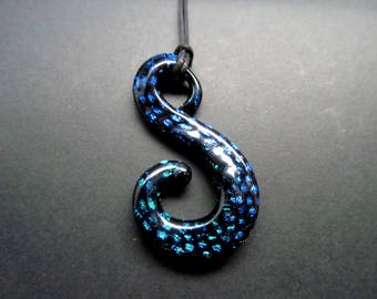 """Dichroic Glass Free-form Necklace black spiral """"S"""" shaped with blue dichro dots"""