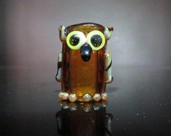 Amber Owl, 10 mm Bead Hole -  HAnd BLown Glass Dread BEad - cute character beads - , Bin #0543